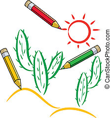 vector pencils draw cactus and sun in desert