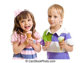 happy children twins girl and boy with ice cream in studio...