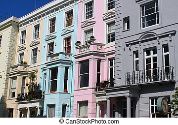 Notting Hill houses - Detailed view of Notting Hill houses,...
