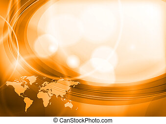 orange world - abstract orange background with map of the...