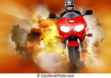 Stuntman collage - Stuntman riding motorbike on orange and...