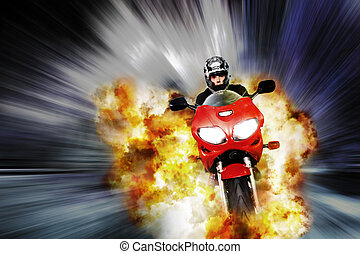 Explosive escape - Hero on motorbike escapes explosion with...