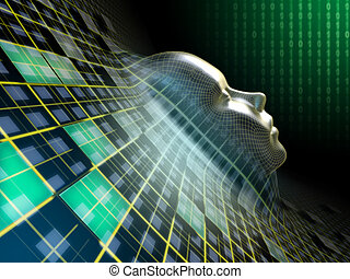 Digital head - Human head emerging from an abstract plane in...
