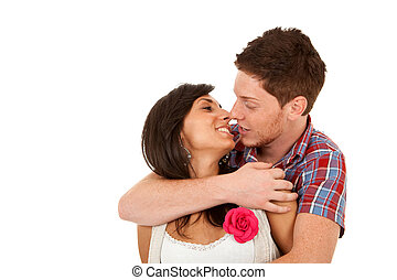 embraced couple ready to kiss
