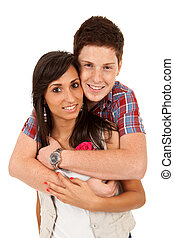Young happy couple embracing, isolated on white background