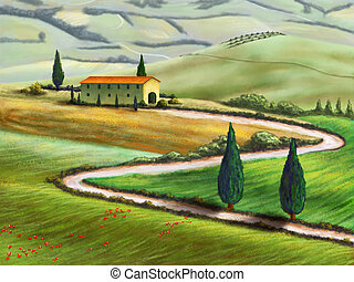Tuscany farm - Farmland in Tuscany, Italy Original digital...