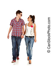 Casual couple is walking