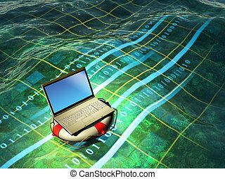 Laptop emergency - A modern laptop floating in a digital sea...