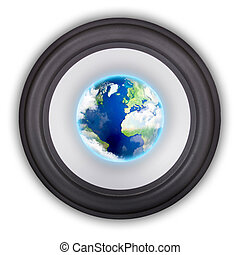 Symbol of global music - Music speaker with a globe in the...
