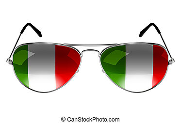 Sunglasses with the flag of Italy as the reflection