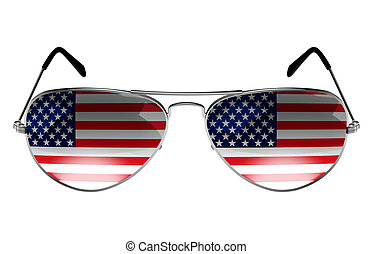 Sunglasses with the flag of USA as the reflection