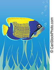 fish under water - Vector illustration of tropical fish...