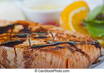 Salmon steak a la carte - A la carte salmon steak meal on a...