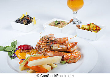 Tiger shrimp a la carte meal - A la carte meal of tiger...