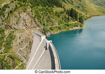 dam - View over Roselend Gittaz dam in the french Alps