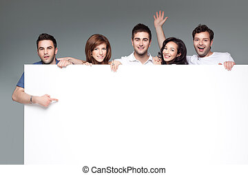 friends advertising white board - group of funny friends...