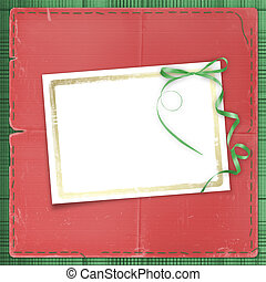 Framework for a photo or invitations. A green bow. A beautiful background.