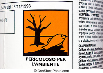 dangerous for environment - label on the bottle of product...