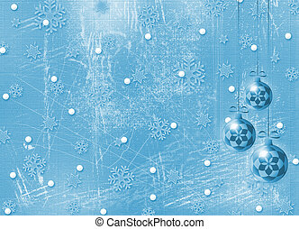 Winter background, christmas bulbs with snowflakes