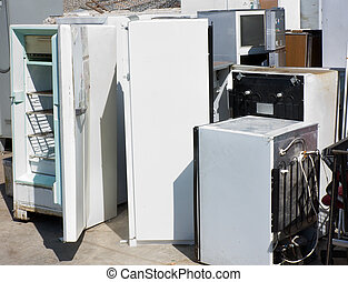 fridges dump - danger to the ozone, heap of old broken...