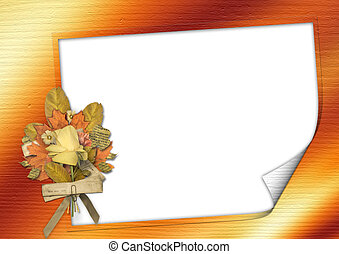 Grunge card  in scrapbooking style, with bouquet