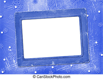 Old blue frame for photo, on the Winter background