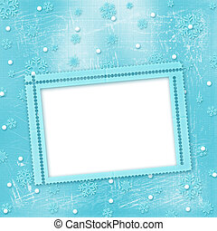 Christmas card with snowflakes on the winter background