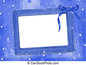 Frame with streamer for photo, on the Winter background