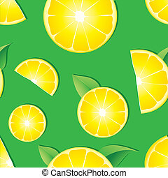 Seamless background with Lemon slices on green background, vector illustration