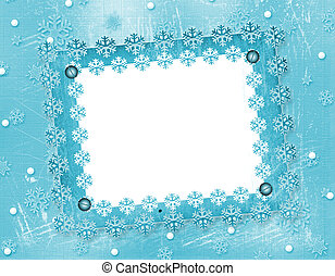 Carved frame for photo on the abstract blue background