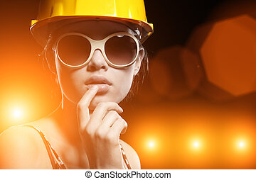 Cool construction worker - Portrait of fashionable female...