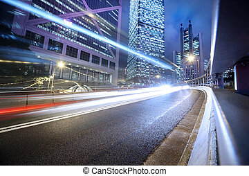 Urban transportation background - Fast moving cars lights...