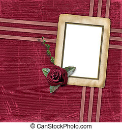 Grunge papers design in scrapbooking style with rose