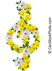 G clef made of daisies and yellow violets isolated on white