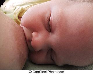Baby breast feeding - Newborn baby breast feeding. Close-up.