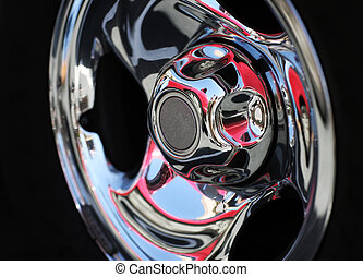 Chrome rim detail, abstract background