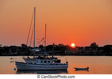 Sunrise On The Matanzas River - Boat moored on the Matanzas...