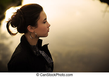 Zen woman - Portrait of beautiful fashionable young Asian...