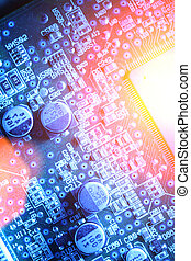 Circuit board abstract background texture. Macro close-up.