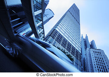 Modern city architecture. Wide angle view from below on...