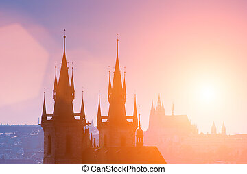 Prague castles - Czech Republic, Prague, silhouette of high...