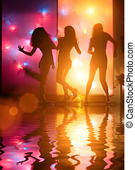 Dancing people - Dancing girls silhouettes in front of...