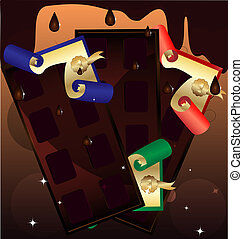 three portions of chocolate - on an abstract background of...