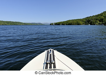 Speed Boat on Lake Windermere - View of Lake Windermere and...