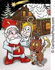 Christmas Cartoon - Holiday Background Illustration, Bitmap