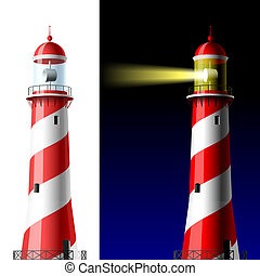 Lighthouse on white and dark - Vector illustration of...