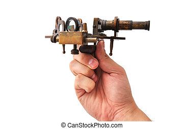 sextant - old sextant in hand  on a white background