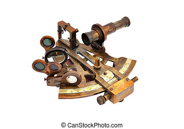 sextant - old sextant on a white background