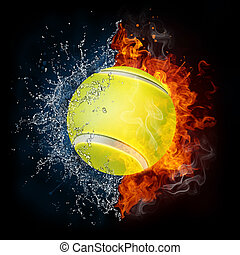 Tennis Ball in Fire and Water Isolated on the Black...