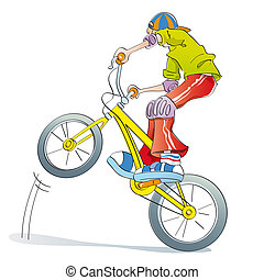 boy practicing bike pirouettes - boy doing tricks and...